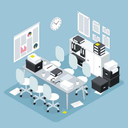 Isometric Office Team Meeting Illustration