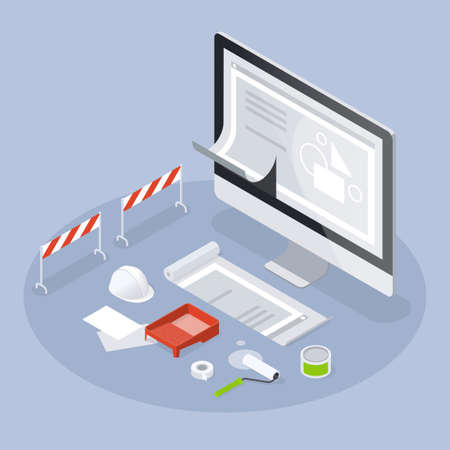 Website Design Development Isometric Illustration