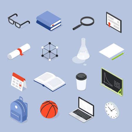 School College Objects Set Isometric Illustration