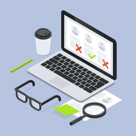 Job Recruiting Hr Laptop Isometric Illustration 矢量图像