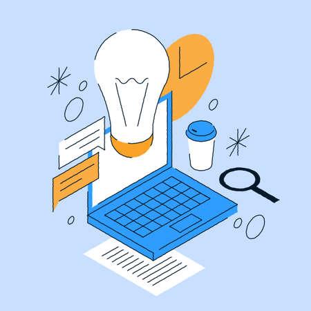 Business Idea Light Bulb Isometric Illustration 矢量图像