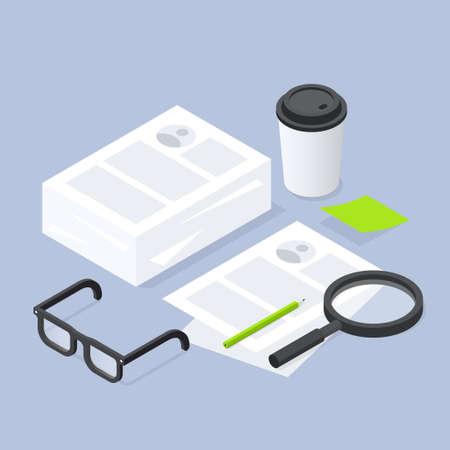 Job Recruiting Isometric Paperwork Illustration