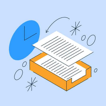 Paperwork Database Storage Isometric Illustration 矢量图像