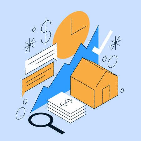 Real Estate Price Increase Isometric Illustration