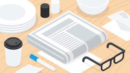 Morning Newspaper Breakfast Isometric Illustration