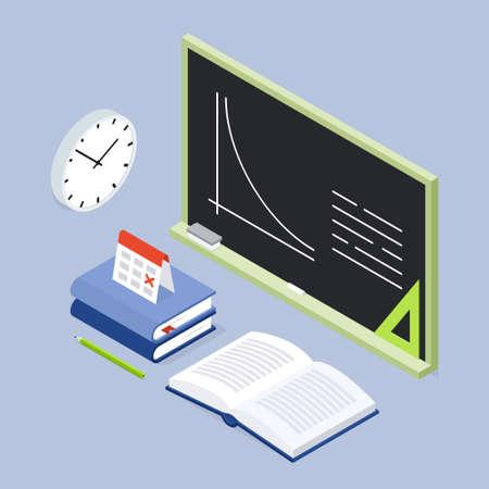 Back To School Lesson Isometric Illustration