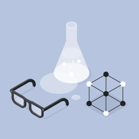 Chemistry Lab Research Isometric Illustration 矢量图像
