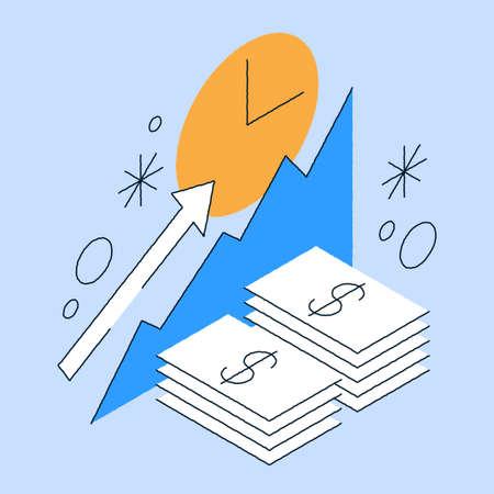 Money Capital Increasing Isometric Illustration 矢量图像