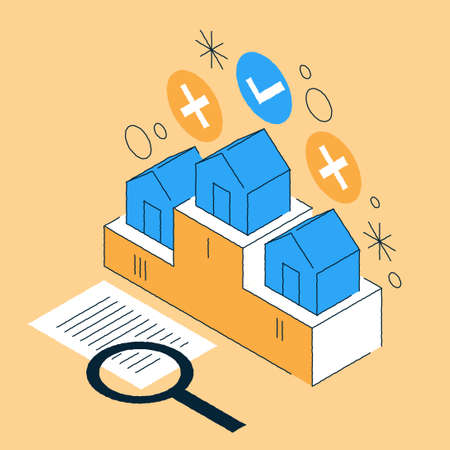 Real Estate Choosing Isometric Illustration 矢量图像