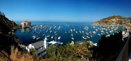 architectural style: Panoramic view of the city of Avalon in Santa Catalina Island, California. Typical architectural style of the area.