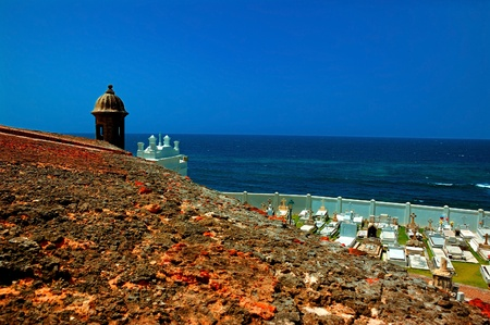 san juan: A view from San Felipe del Morro Fortress, San Juan, PR, USA. The only castle never taken by force in the history of warfare.