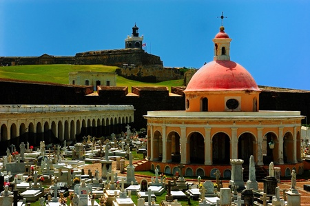 military cemetery: A view from San Felipe del Morro Fortress, San Juan, PR, USA. The only castle never taken by force in the history of warfare.