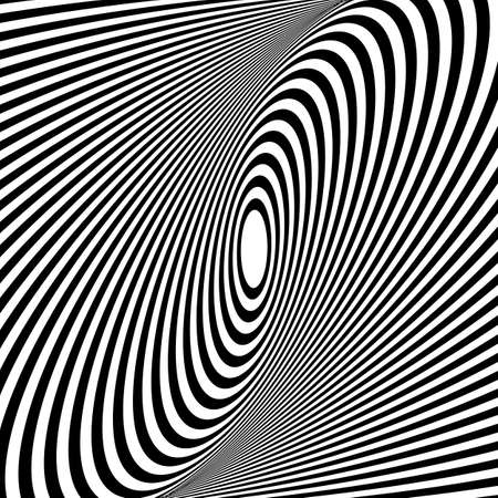 Illusion Abstract black and white circular pattern. Illusion of vortex movement. Geometric pattern with visual distortion effect. Optical illusion. Op art.