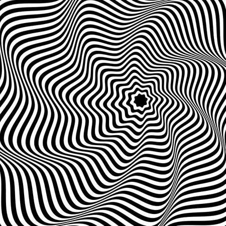 Illusion Abstract black and white circular pattern. Illusion of vortex movement. Geometric pattern with visual distortion effect. Optical illusion. Op art. Векторная Иллюстрация