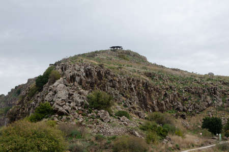 landscapes with mountain views with the remains of ancient buildings on the golan heights in israel in national parks