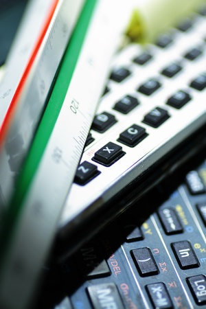 Typical objects of engineering desk calculator scaler Stock Photo - 13396395