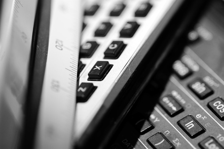 Typical objects of engineering desk calculator scaler Stock Photo - 13396399