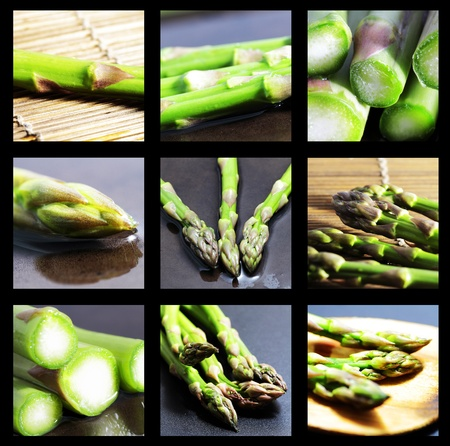 aspects: group of green asparagus snapshots highlighting different aspects of the thematic Stock Photo