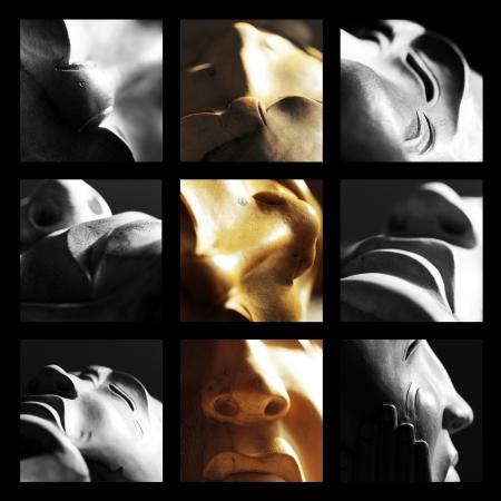 m�lancolie: sculpture en bois visage exprimant la tristesse m�lancolie d�ception �motions