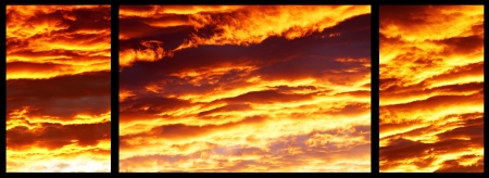 flaming red fire in the sky  photo