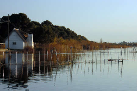 barrack: Nature park of Albufera lagoon of Valencia with typical farmhouse or barraca and canes, lake in Spain Stock Photo