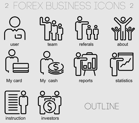 bankomat: Icons for business and forex applications outline style