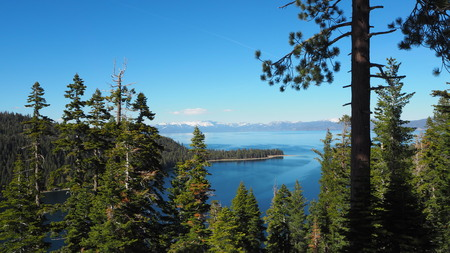 freshwater: Lake Tahoe is a large freshwater lake in the Sierra Nevada of the United States. Stock Photo