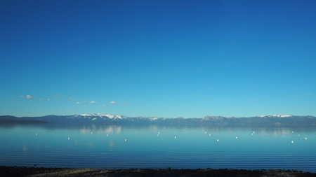 sierra nevada: Lake Tahoe is a large freshwater lake in the Sierra Nevada of the United States. Stock Photo