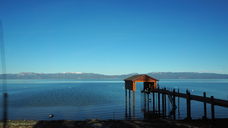 Lake Tahoe is a large freshwater lake in the Sierra Nevada of the United States. Фото со стока