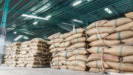 hemp sacks containing rice 스톡 콘텐츠