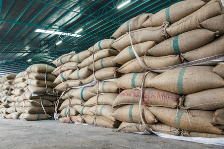 hemp sacks containing rice Stock Photo