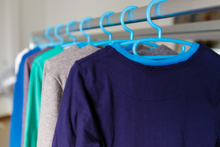 hangers: Lots of washing clothes on hangers