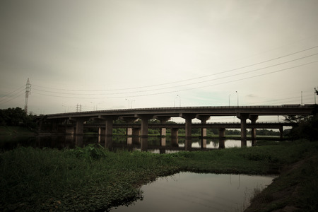 white clouds: Num Phong Bridge, KhonKaen, Thailand Stock Photo