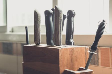 kitchen knife set in kitchen