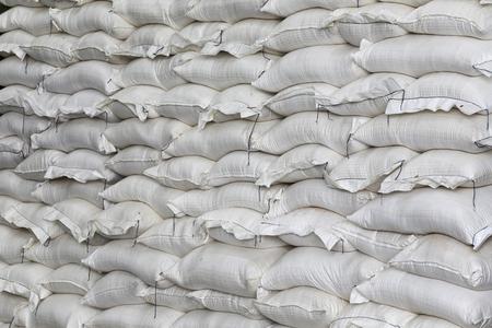 White sacks containing rice