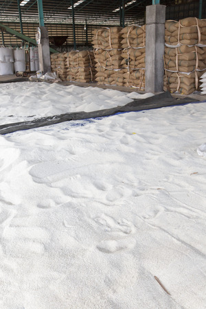 humidity: Dry sticky rice in the air to reduce humidity with stack of hemp sacks background
