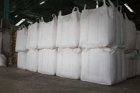 Big bags that containing the rice in warehouse