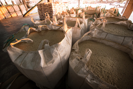 Big bag containing rice in warehouse