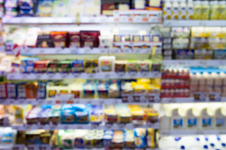 Blurred background : Supermarket store blur background with bokeh 스톡 콘텐츠