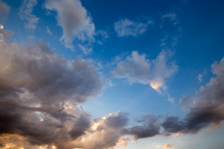 nimbi: Clouds in the blue sky at sunset Stock Photo