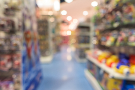 toy shop: Blur or Defocus image of a toy shop as background with bokeh Stock Photo