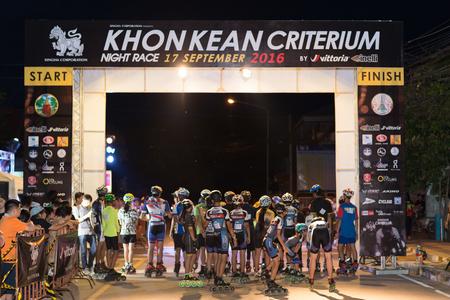 roller blade: KHONKAEN, THAILAND-SEPTEMBER 17, 2016: Large group of skater pass at the KHONKAEN Night criterium