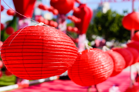 Red Chinese Paper Lanterns, decorate for chinese new year