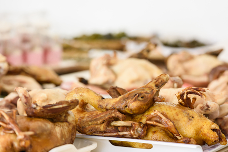 Image of a table feast and food for chinese new year festival. chicken and duck prepare for chinese new year food