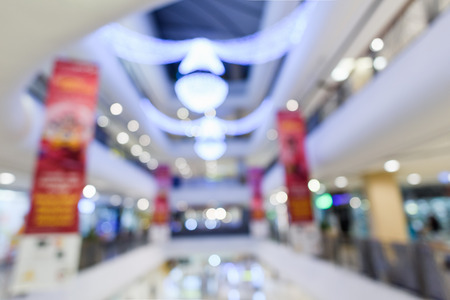Abstract Blurry or Defocus Background of Shopping Mall with Light Decoration 스톡 콘텐츠
