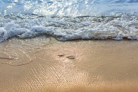 Soft wave of the sea on the sand beach with sunlight. Tropical sandy beach background with copy space. Top down view. 스톡 콘텐츠