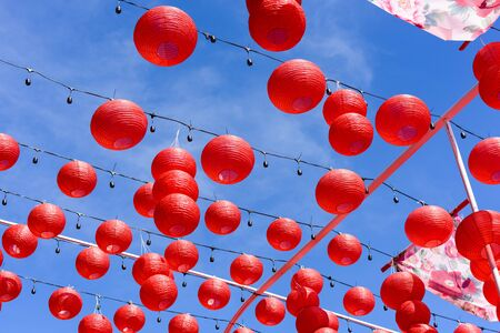 Red Chinese Paper Lanterns, decorate for chinese new year 免版税图像 - 131582075