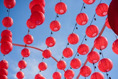 Red Chinese Paper Lanterns, decorate for chinese new year 免版税图像 - 131585911