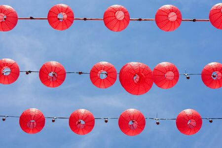 Red Chinese Paper Lanterns, decorate for chinese new year 免版税图像 - 131586522