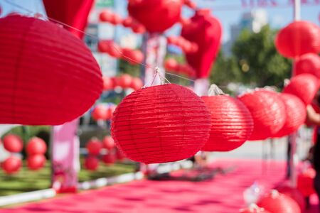 Red Chinese Paper Lanterns, decorate for chinese new year 免版税图像 - 131586820